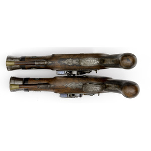 Pair Of British Blunderbuss Pistols With Folding Bayonets, Lot of Two