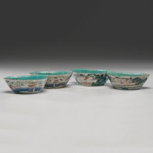 Famille Rose Porcelain Crescent Bowls