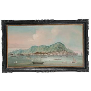 China Trade School, The Hong Kong Harbor with American, British, and European Ships