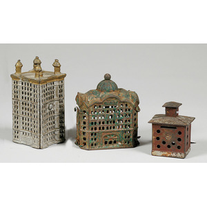 Lot of Three Cast Iron Building Still Banks,