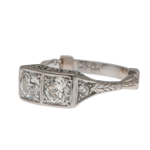 Two Diamond Filigree Ring in Platinum and 14 Karat White Gold