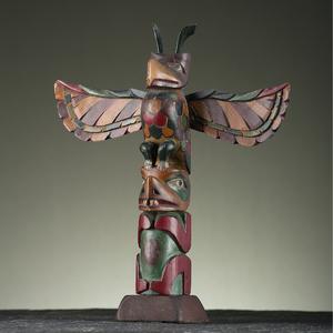 Northwest Coast Polychrome Model Wood Totem Pole
