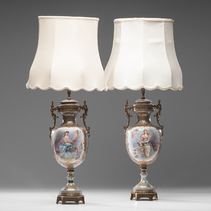 Sevres-style Urns with Ormolu Mounts