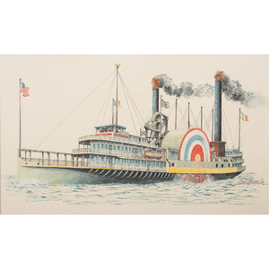 Jerome Biederman Illustration Art Of Steam Boats And Other