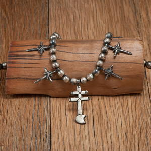 Pueblo Silver Bead Necklace with Tufa-Cast Crosses