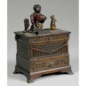 Cast Iron Mechanical Bank Organ Grinder,