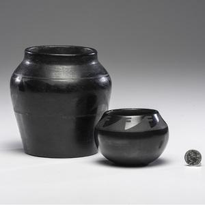 Isabel Montoya Atencio (San Ildefonso, 1898-1996) and a Santa Clara Blackware Pottery Jars