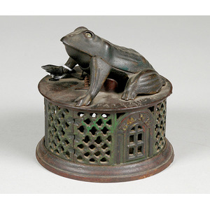 Cast Iron Mechanical Bank Frog on a Round Base,
