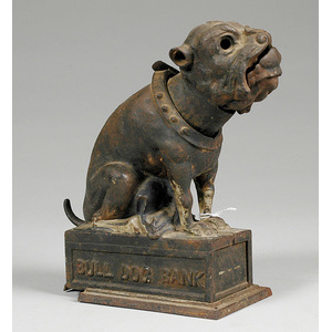 Cast Iron Mechanical Bank Bulldog,