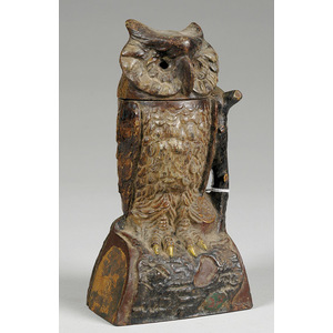 Cast Iron Mechanical Bank Owl Turns Head,