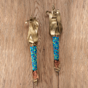 Charles Pratt (Cheyenne / Arapaho, b. 1937) Bronze and Turquoise Ears of Corn