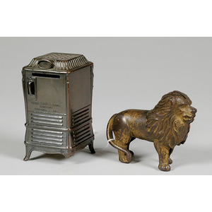 Two Still Banks, Cast Iron Lion and White Metal Globe Stove,