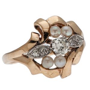 Diamond and Pearl Ring in 14 Karat Yellow Gold