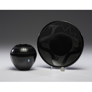 Juan Tafoya (San Ildefonso, 1949-2006) Blackware Pottery Plate and Jar