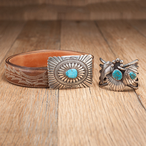 Navajo Silver and Turquoise Cuff and Belt Buckle