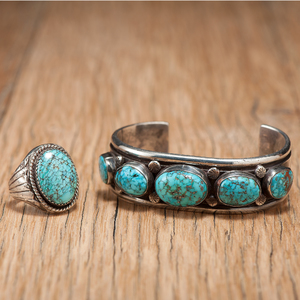 Navajo Silver and Turquoise Cuff and Ring
