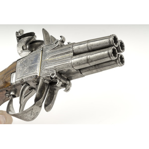 Iron Mounted Four Shot Flintlock Pistol