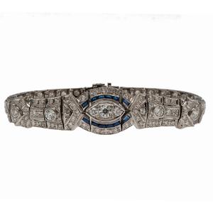 Art Deco Bracelet in Platinum with Diamonds and Sapphires