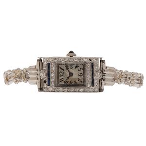 Cornavin Diamond and Sapphire Watch in Platinum and 14 Karat White Gold