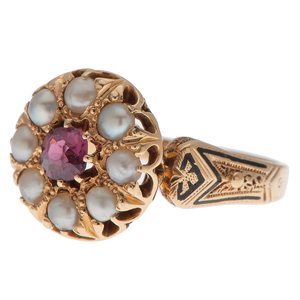 Vintage Pearl and Ruby Ring in 14 Karat Yellow Gold with Enamel