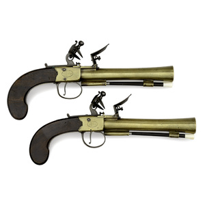 Pair Of Brass Blunderbuss Flintlock Single Shot Pistols