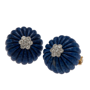 Carved and Fluted Lapis Earrings in 18 Karat Yellow Gold with Diamonds