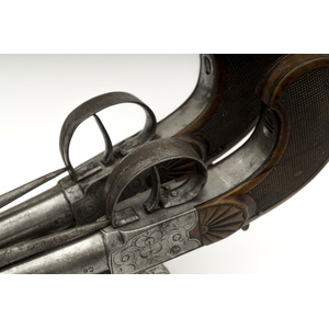 Cased Pair Of Francotte Flintlock Blunderbuss Pistols With Folding Bayonets