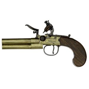 Brass Three Barrel Flint Pistol