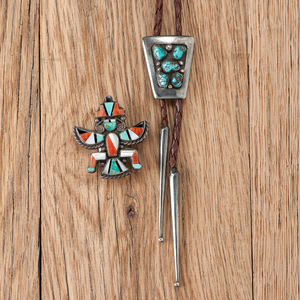 Frank Patania (1899-1964) Silver and Turquoise Bolo Tie and a Zuni Knifewing Pin
