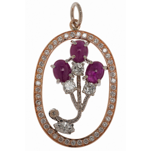 Mattioli Ruby and Diamond Pendant in 18 Karat Rose and White Gold