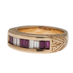 Ruby and Diamond Channel Set Ring in 18 Karat Yellow Gold