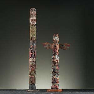 Northwest Coast Model Wood Totem Poles