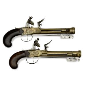 Pair Of Brass Barreled Blunderbuss Pistols With Folding Bayonets