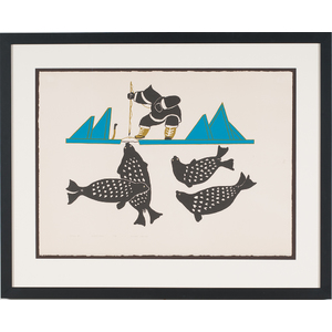 Peter Aliknak (Inuit, 1928-1998) Lithograph on Paper
