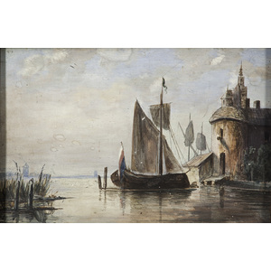 Dutch Painting of a Ship at Dock