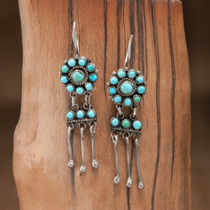 Zuni Silver and Turquoise Earrings with Dangles