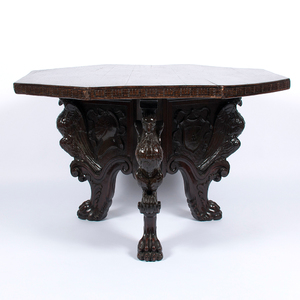 Oak Octagonal Center Table with Carved Eagle Base