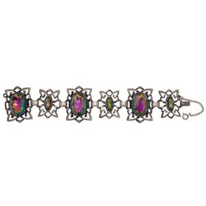 Schiaparelli Gemstone Bracelet in Silver Tone