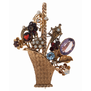 Flower Basket Brooch in 14 Karat Yellow Gold with Gemstones and Diamonds