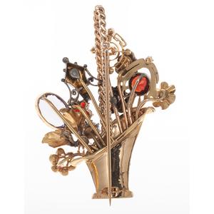 Flower Basket Brooch in 14 Karat Yellow Gold with Gemstones and Diamonds