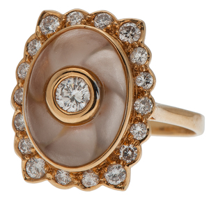 Diamond and Rock Crystal Ring in 18 Karat Yellow Gold