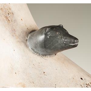 Sakey Evvik (Inuit, 1933-1989) Attributed Whalebone and Stone Sculpture