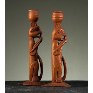 Tlingit Carved Wood Candlesticks