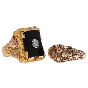 Black Hills Gold Diamond and Onyx Ring in 10 Karat Tri-Color Gold PLUS