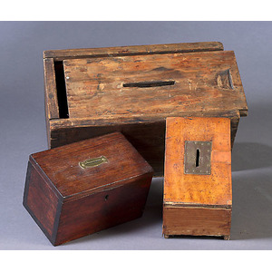 Three Early Wooden Ballot Boxes,