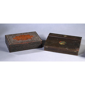 Fine Inlaid Anglo-Indian Trinket Box & Victorian Lap Desk,