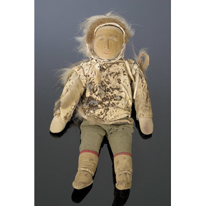 Eskimo Male Doll with Carved Wooden Face,