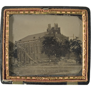 Tintype of Construction of First Baptist Church of Shelbyville, Kentucky,