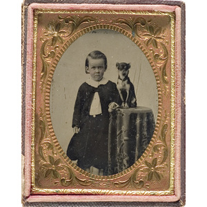 Sixth Plate Tintype of a Little Boy and His Dog,