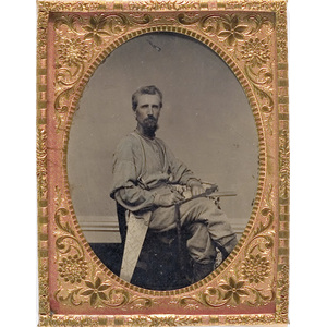 Quarter Plate Tintype of a Carpenter with His Tools,